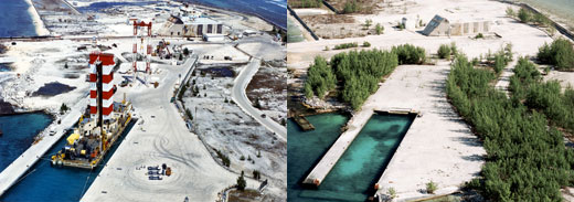 Centre d'expérimentation du Pacifique in 1987, and in 1998, after dismantling. Photo credit : CEA